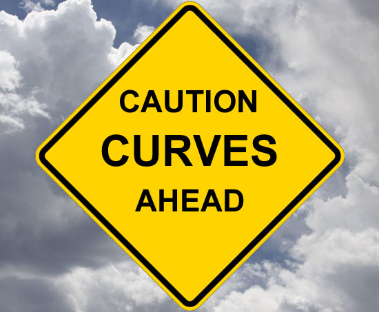 road sign - caution curves ahead