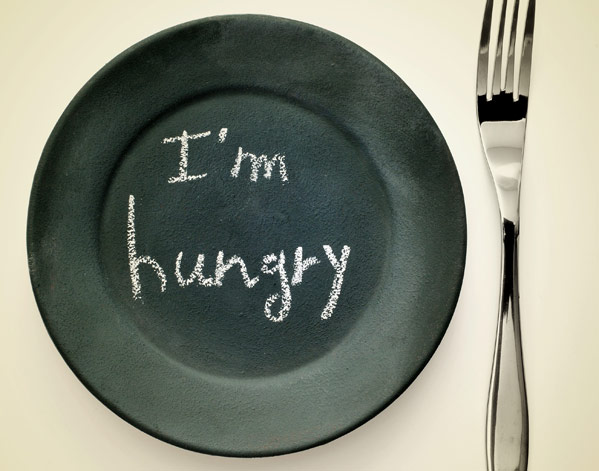 plate with i'm hungry written on